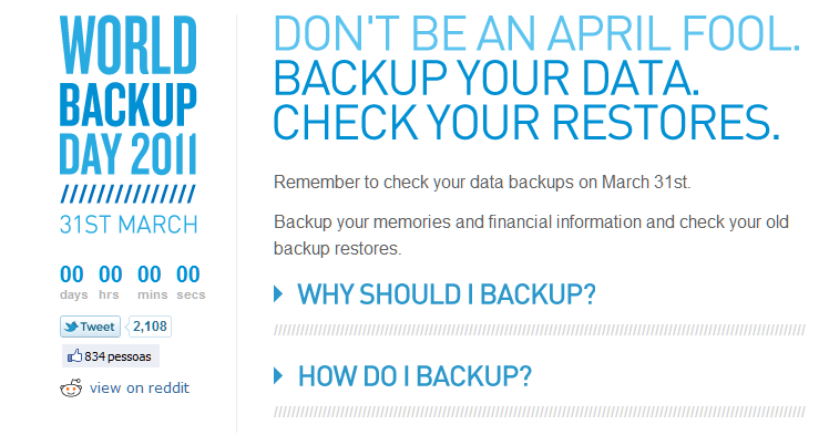 Tela do Site internacional do Dia Mundial do Backup, em 2011