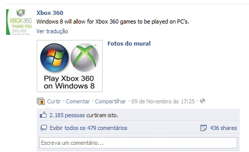 Jogos do XBOX 360 irão rodar no Windows 8?